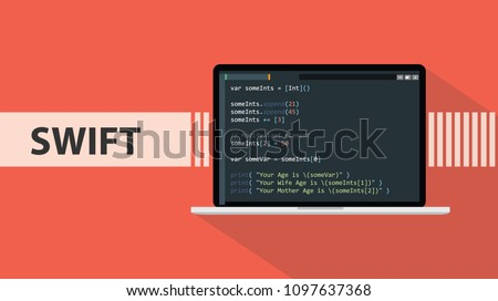 swift code programming language with script code on laptop screen vector graphic