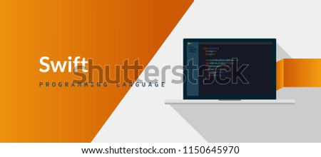 Swift  programming language for iOS, Mac OS from apple with script code on laptop screen, programming language code illustration