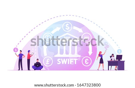 Swift, Society Worldwide Interbank Financial Telecommunication, International Payment, Banking Web Network Pay System Finance Digital Technology Banking Money Transfer. Cartoon Vector Illustration
