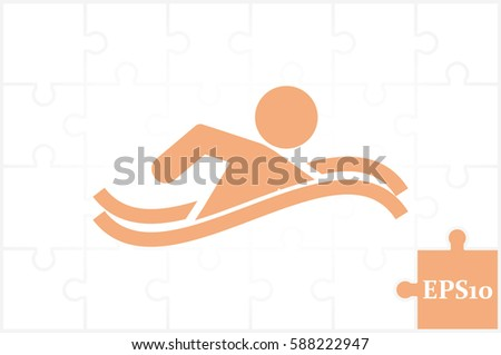 swim icon vector illustration eps10. Isolated badge swimmer for website or app - stock infographics