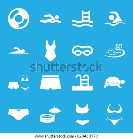 Swim icons set. set of 16 swim filled icons such as turtle, bikini, pool, swimsuit, swimming pool, swimming, lifebuoy, swimmer, man swim wear