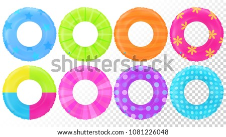 Swim rings set. Inflatable rubber toy. Lifebyou colorful vector collection. Realistic summertime illustration. Swim ring. Summer vacation. Trip safety. Top view swiming circle for ocean, sea, pool.