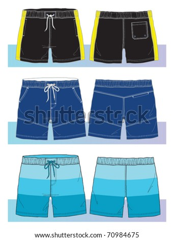 swim shorts for young men - stock vector