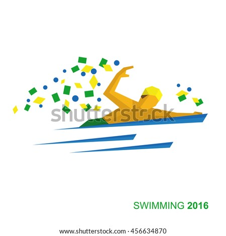 Marathon Swimmer in the colors of the Brazilian flag. Flat athlete ...