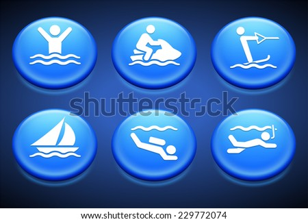 Swimming and Water Sports on Blue Round Buttons