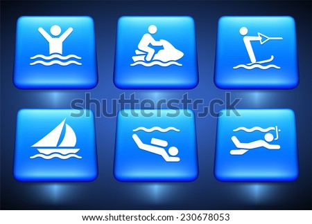 Swimming and Water Sports on Blue Square Buttons