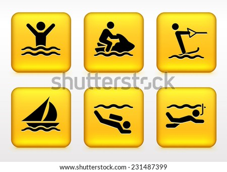 Swimming and Water Sports on Yellow Square Buttons