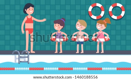 Swimming class coach woman teaching children swimmers group in swimming pool. Happy kids characters standing at poolside, wearing swimming rings, training, learning to swim. Flat vector illustration