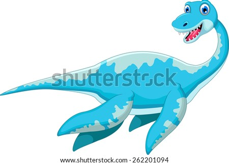 swimming dinosaur cartoon