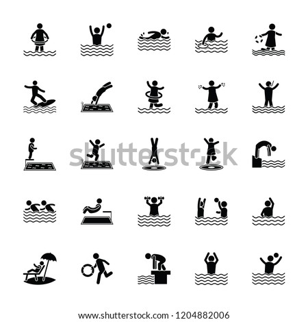 swimming glyph icons pack