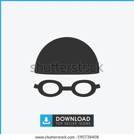 swimming hat and glasses icon