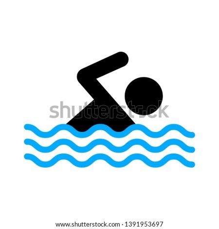 swimming icon, vector swimming pool, water swim sport