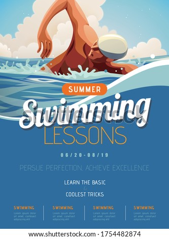 Swimming lesson promotion poster in flat style, with professional athlete doing freestyle in open water Foto stock ©