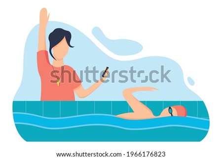 Swimming lesson with a coach, a woman teaches a young man to swim in the pool, modern vector illustration in the style of flat. Sports, time trial competition. Stockfoto ©