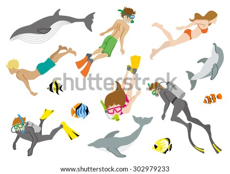 swimming people and marine life