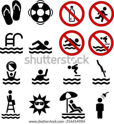 swimming  pool and diving icon