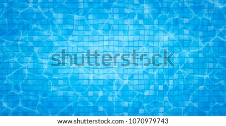 Swimming pool bottom caustics ripple and flow with waves background. Summer background. Texture of water surface. Overhead view. Vector illustration background
