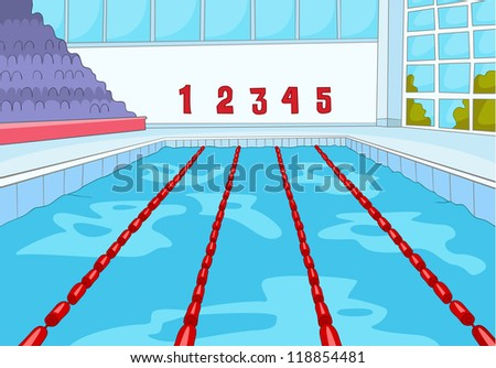 Swimming Pool. Cartoon Background. Vector Illustration EPS 10.