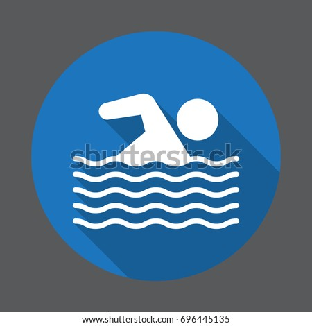 Swimming pool flat icon, round colorful button, circular vector sign. Flat style design white pictogram