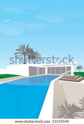 swimming pool in front of a house - stock vector