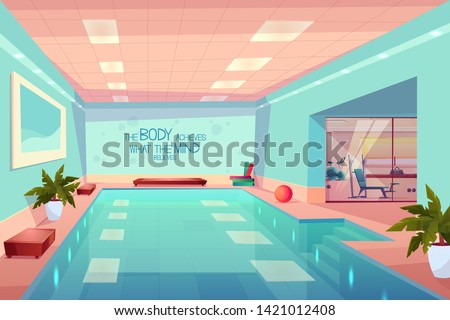 swimming pool in gym interior