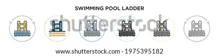 swimming pool ladder icon in