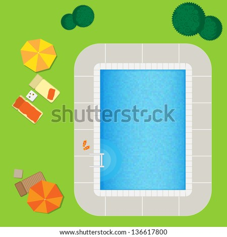 Swimming pool on a green meadow with umbrella and chaise lounge.