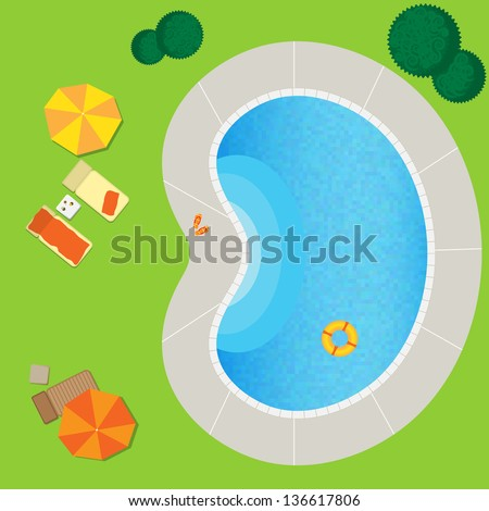 swimming pool on a green meadow