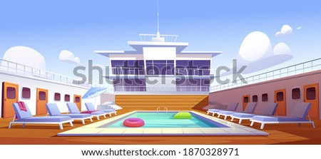 Swimming pool on cruise liner, empty ship deck with sun loungers, wooden floor and door portholes. Modern luxury sailboat in sea or ocean. Passenger vessel with water pond, Cartoon vector illustration