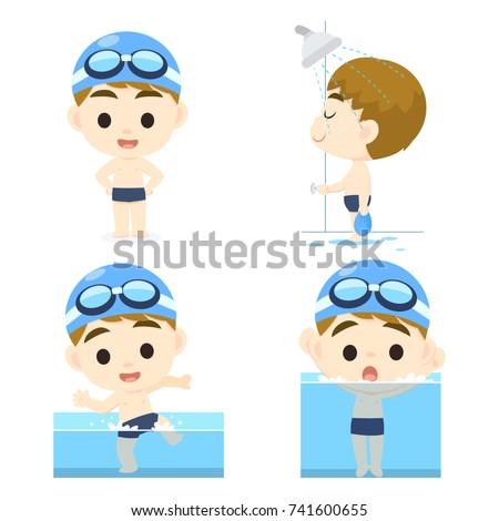Swimming Pool Rules cartoon set Photo stock ©