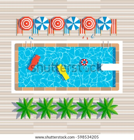 swimming pool top view with