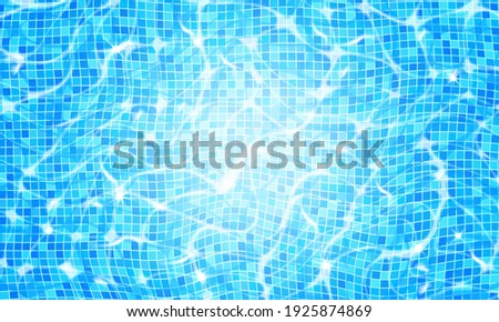 Swimming pool water background with caustic ripple and sunlight glare effect. Aquatic surface with waves backdrop. Vector illustration of underwater bottom texture, top view