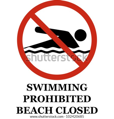 Swimming prohibited sign isolated on white. vector