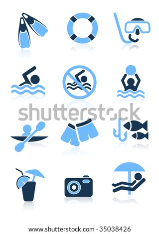 Swimming sport icons,  vector illustration, EPS file included