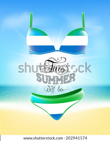 swimsuit lettering seascape