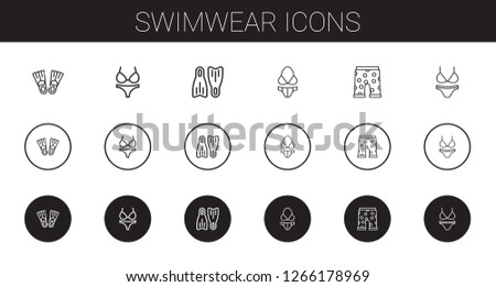 2a7a00de0d swimwear icons set. Collection of swimwear with flippers