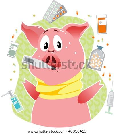 Swine flu concept - stock vector