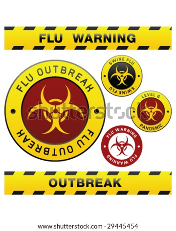Swine flu pandemic outbreak warning tape, badge, labels and sticker with biohazard symbol