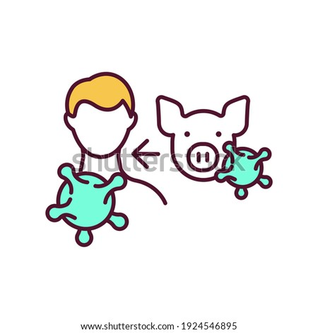 Swine influenza RGB color icon. Zoonotic disease. Viral infection transmission from animal to human. Flu virus. Influenza sickness. Illness danger, healthcare. Isolated vector illustration Stock photo ©