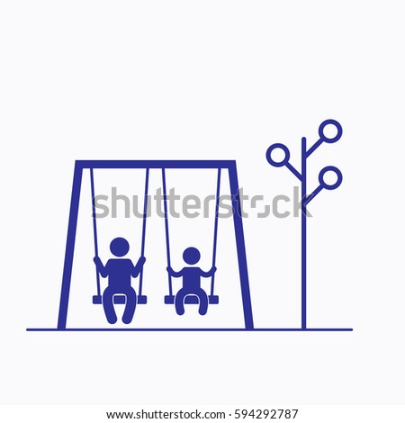 Swing and People Park Icon. Flat Isolated Graphic Vector Isolated Blue Color
