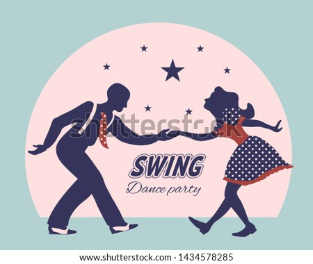 Swing dance couple silhouette with stars and circle on background. 1940s and 1930s style. Woman in dress with dots and man with suspenders and tie. Flat vector illustration. Stock photo ©