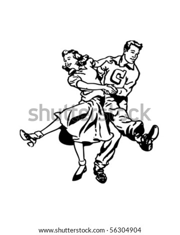 Swing Dancers At The Hop - Retro Clip Art