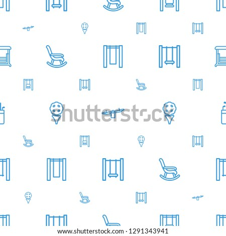 swing icons pattern seamless white background. Included editable outline rocking chair, golf, golf putter icons. swing icons for web and mobile.