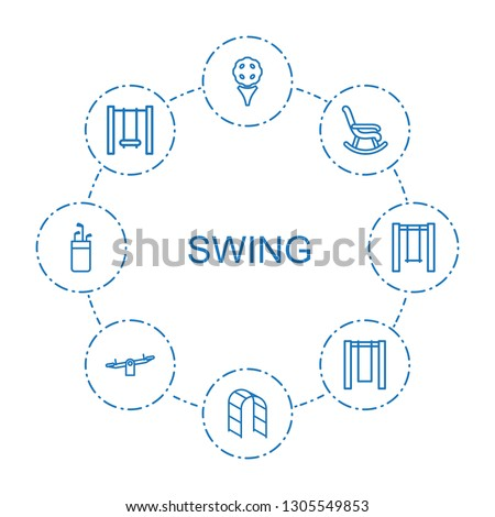 swing icons. Trendy 8 swing icons. Contain icons such as golf, playground ladder, rocking chair, golf putter. swing icon for web and mobile.