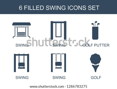 swing icons. Trendy 6 swing icons. Contain icons such as golf putter, golf. swing icon for web and mobile.