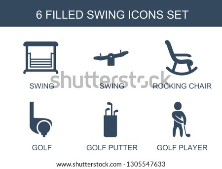 swing icons. Trendy 6 swing icons. Contain icons such as rocking chair, golf, golf putter, golf player. swing icon for web and mobile.
