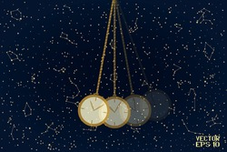 Swinging Golden and Beige Pendulum with Clock. Single Object Isolated on Starry Night Background. Panoramic Sky Map of Hemisphere. Vector. 3D Illustration