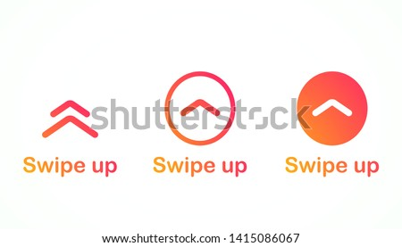 Swipe up, arrow up buttons colorful gradient. Text swipe up. Social media instagram concept. Vector illustration. EPS 10