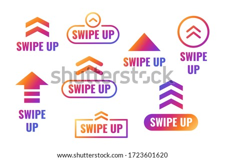 Swipe up, arrow up buttons gradient with shiny colors. Social media concept. Vector illustration eps 10 Stockfoto ©