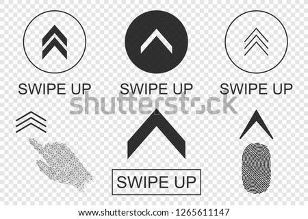 Swipe up buttons set. Application and social network icons. Vector illustration.